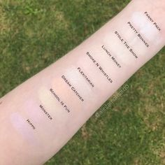 Swatches and comparison of the lighter Colourpop Cosmetics highlighters - Polish and Paws cruelty free beauty blog - Fanny Pack, Pretty Bonnes, Stole The Show, Lunch Money, Smoke n Whistles, Flexitarian, Dream Catcher, School Is Fun, Monster and Hippo super shock cheek highlighter.