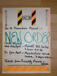 HAPPY MONDAYS, NEW ORDER POSTER MAXWELL HALL, SALFORD UNIVERSITY - 1985 – MANCHESTER DISTRICT MUSIC ARCHIVE