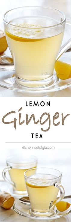 Lemon Ginger Tea - perfect winter drink that warms the body from the inside out - kitchennostalgia.com Replace honey with agave syrup or sugar to veganize the recipe.