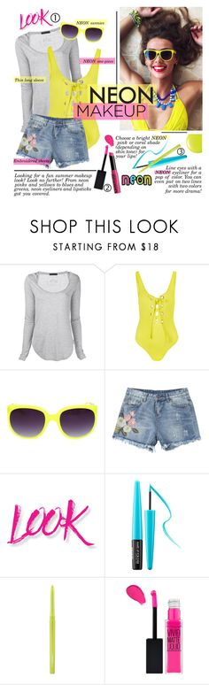 """""""Neon Makeup for Summer"""" by pianogirlzoe ❤ liked on Polyvore featuring beauty, ATM by Anthony Thomas Melillo, Mara Hoffman, NYX, MAKE UP FOR EVER, MAC Cosmetics, Summer, Beauty, neon and makeup"""