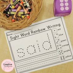 Sight word rainbow writing activity pages for kindergarten literacy centers Sight Word Worksheets, Sight Word Activities, Writing Worksheets, Math Activities, Word Games, Handwriting Activities, English Activities, Kindergarten Art Projects, Kindergarten Centers