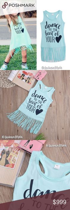 JUST IN‼️💖 Dance To The Beat Of Your ❤️ 🌟BRAND NEW🌟  Lovely green letter print sleeveless dress with tassel trim. Material is Cotton & Polyester. Limited quantity. GET YOURS NOW!  Available Sizes: 3T (100) | 4T (110)  💟Size Chart are approximate measurements,  please allow a few inches difference.  💟Please double check size chart before purchasing.  💟Please ask questions before purchasing. 💟PRICE is FIRM 💟NO Trades Davin+Theia Dresses