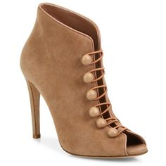 Gianvito Rossi Suede Button-Strap Peep-Toe Booties (22,470 MXN) ❤ liked on Polyvore featuring shoes, boots, ankle booties, booties, heels, apparel & accessories, peep toe ankle boots, peep-toe booties, short boots and heeled ankle boots
