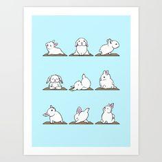 Bunnies+Yoga+Art+Print+by+Huebucket+-+$22.88