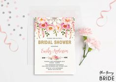 Pink and Gold Floral Bridal Shower Invitation. Bohemian Pink Watercolor Flowers. Boho Engagement Invite. Feathers. Dream Catcher.