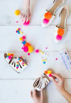 Pom poms are having a stylish moment right now, especially on sandals. If there's one thing I love, it's a trend that's easy to DIY. To join in on this fun spring trend, here's how to make a pair for yourself (and a matching pair for your mini me)… Supplies...