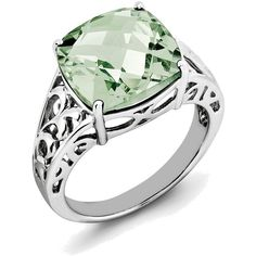 Sterling Silver Rhodium Checker-Cut Cushion Green Quartz Ring ($138) ❤ liked on Polyvore featuring jewelry, rings, rhodium jewelry, sterling silver jewelry, sterling silver rings, green quartz jewelry and rhodium ring