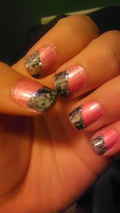pink and camo nails
