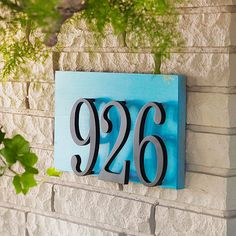 Color-Coordinated-Handsome house numbers become knockouts when mounted to a piece of medium-density fiberboard painted to match the door.