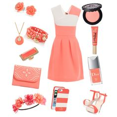 coral summer by xxfrozengirlxx on Polyvore featuring polyvore fashion style Roland Mouret Carvela Kurt Geiger Vera Bradley The Limited GUESS Bling Jewelry Nordstrom Rack Kate Spade Charlotte Russe Too Faced Cosmetics Christian Dior