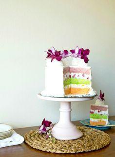 Passion Fruit, Guava, and Lime Chiffon Cake | www.sayitwithcake.org | #hawaiiancake #passionfruit #guava #lime #chiffoncake