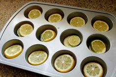 perfect ice cubes for a party – use lemons, limes or even cucumbers, place in cupcake try, fill with water and freeze!