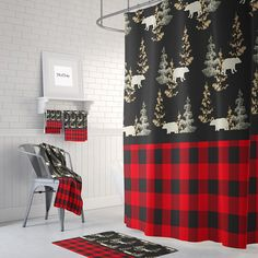 The Plaid Rustic Woodland Bears Shower Curtain Rustic Shower Curtains, Fabric Shower Curtains, Bedroom Curtains, Cabin Curtains, Plaid Shower Curtain, Teal Curtains, Blackout Curtains, Bedroom Decor, Do It Yourself Decoration
