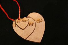 Wooden Love Heart Decoration with twine to hang, wedding , valentines , Gift