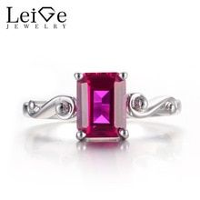 Leige Jewelry Cocktail Rings Ruby Rings July Birthstone Rings Emerald Cut Red Gemstone 925 Sterling Silver Wedding Gifts for Her - Affordable Jewelry Emerald Cut Rings, Garnet Rings, Ruby Rings, January Birthstone Rings, Birthstone Jewelry, Solitare Ring, Red Gemstones, Party Rings, Affordable Jewelry