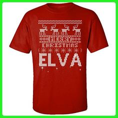 Ugly Christmas Sweater Greetings From Elva - Adult Shirt 5xl Red - Holiday and seasonal shirts (*Amazon Partner-Link)