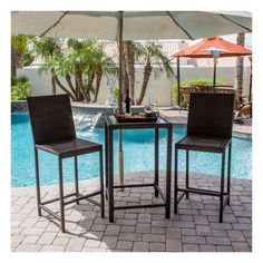 Wicker Dining Set 3 Piece Bar Height Bistro Patio Furniture Glass Top Table New Bistro Patio Set, Patio Bar Set, Pub Table Sets, Wicker Dining Set, Outdoor Dining Set, Indoor Outdoor, Outdoor Decor, Outdoor Art, Dining Table