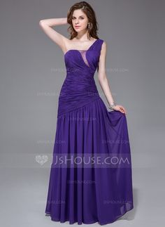A-Line/Princess One-Shoulder Floor-Length Ruffle Beading Zipper Up Regular Straps Sleeveless No Regency Spring Fall General Plus Chiffon Evening Dress