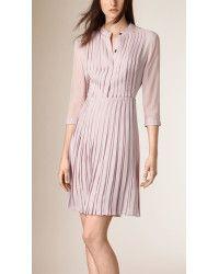 Burberry   Pleated Silk Dress    Lyst