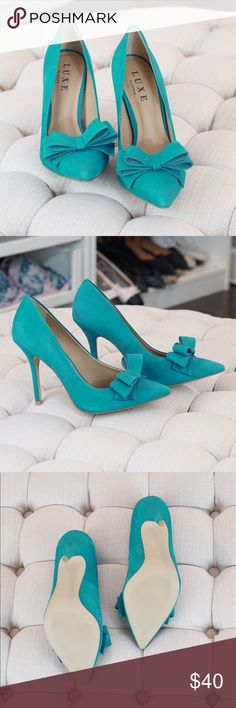 🎉FINAL PRICE REDUCTION 🎉Teal Bow Heels These beautiful teal bow heels are just stunning and need a new home. They have never been worn outside the house. I truly love these heels and they are just beautiful in person. Please zoom in to pictures for any in perfections. These are not Zara just listed like that for exposure. Thank you for stopping by. They have a approx 4 inch heel Zara Shoes Heels