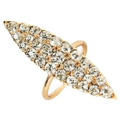For Sale on - The navette form is an antique shape dating to the Victorian era that rests elegantly on the hand. This diamond studded version makes a refined statement Victorian Gold, Victorian Era, Vintage Style Rings, 3 Carat, Diamond Sizes, Fashion Rings, Jewelry Rings, Antiques, Finger