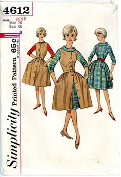 A vintage 1960s PATTERN. Dress with tight bodice and full skirt. Button up front. size 16 Simplicity 16