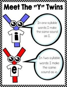 "Introduce your students to the ""Y"" twins. I and E are twin brothers with different sounds. Use these cute y as a vowel activities to familiarize your students with the sound that each one makes. Phonics Reading, Teaching Phonics, Teaching Reading, Teaching Kids, Learning, Reading Comprehension, First Grade Phonics, First Grade Reading, Reading Strategies"