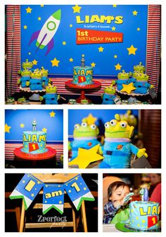 First Birthday luncheon at Bistro West. Theme smash cake with Buzz Lightyear candle and Disney plush little green men: I am one. Toy Story Theme, Toy Story Birthday, Toy Story Party, Boy Birthday, Cumple Toy Story, Festa Toy Story, 1st Birthdays, 1st Birthday Parties, Buzz Lightyear Wings