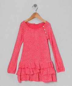 Take a look at this Handprint Pink Chicken Feet Ruffle Dress - Toddler & Girls on zulily today!