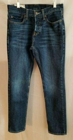 Men's Clothing Nwt Men Eagle Dark Blue Denim Frayed Slim Straight Low Rise Heavy Stitch 34 X 30 100% High Quality Materials