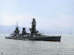 A great colourised view of Fuso, after reconstruction, with her amazing pagoda bridge structure!