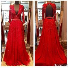 New Design Elegant Red Long Sleeves Evening Dresses
