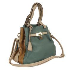 Bolsa verde e bege