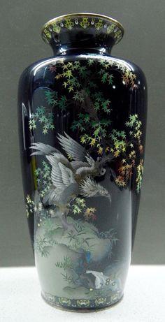 """Hayashi Kodenji 9"""" Meiji Japanese Silver Wired Cloisonne Hawk & Maple Tree Vase"""