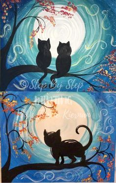 Cat Painting Easy - Step By Step Painting - Online Acrylic Tutorial Canvas Painting Tutorials, Easy Canvas Painting, Simple Acrylic Paintings, Acrylic Painting Tutorials, Easy Paintings, African Paintings, Halloween Canvas, Halloween Painting, 3d Canvas Art