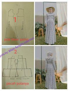 Long Dress Patterns, Simple Dress Pattern, Dress Sewing Patterns, Sewing Patterns Free, Clothing Patterns, Sewing Tutorials, Kebaya, Dress Batik Kombinasi, Abaya Pattern