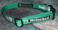 Adjustable Dog Collar from Recycled Heineken Beer labels by squigglechick, $18.00