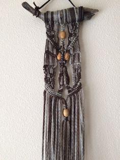 Tioga Driftwood Macrame Wall Hanging Brown/Grey by JillGlidden  #macrame #jillgliddenonetsy #bohodecor #gowestdesign #freepeople #festival #retro #naturaldesigns #nature #driftwood #beach #handmade #brown #unique #hippie #ombre