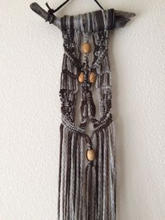 Tioga Driftwood Macrame Wall Hanging Brown/Grey by JillGlidden  #macrame #jillgliddenonetsy #bohodecor #gowestdesign #freepeople #festival #retro #naturaldesigns #nature #driftwood #beach #handmade #brown #unique #hippie #ombre