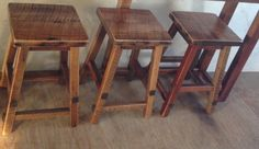 Rustic Reclaimed Barn Wood Furniture - Square Seat Bar Stool - Handmade - Custom - Amish Made in USA Rustic Bar Stools, Backless Bar Stools, Reclaimed Barn Wood, Amish, Wood Furniture, Home Projects, Woodworking, Usa, Kitchens