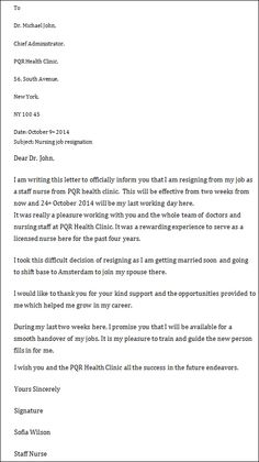 Letter Of Resignation Nurse Sample Nurse Resignation Letter