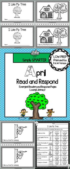 Are you looking for a LOW PREP reading activity for preschool, kindergarten, or first grade? Then use these April mini books and comprehension reading responses for guided reading, shared reading, independent reading, social studies, science, or homework. You can choose from five different black and white emergent readers. The books contain simple sentences and picture support on each page. Children also will practice the sight words found in the books with the provided flash cards.