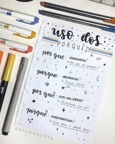 Learning Portuguese for Business Notebook Organization, School Organization, Lettering Tutorial, Mental Map, Bullet Journal School, Study Planner, Study Hard, School Notes, Studyblr