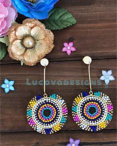 Macrame Earrings, Bead Earrings, Beaded Jewelry, Crochet Earrings, Earrings Handmade, Handmade Jewelry, Beading Techniques, Brick Stitch, Beading Patterns