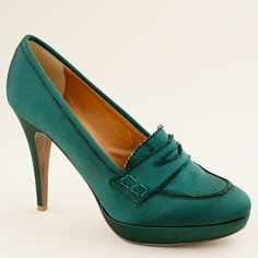 Biella satin high-heel loafers - J Crew
