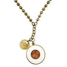 Lucky Penny necklace: vintage 70's penny on a long brassy bead chain.