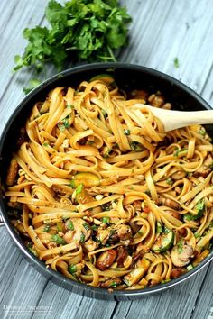 One Pot Spicy Thai Noodles - these are SO good and so easy to cook up. Vegetarian recipe but options for added protein too!