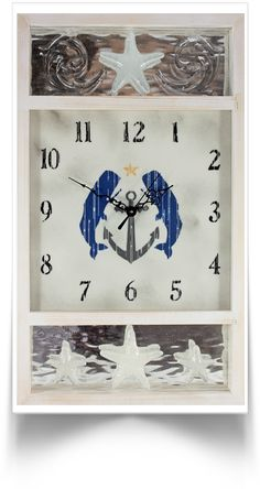 Nautical Clock in distressed white pine with cast sea stars, whales and an anchor.