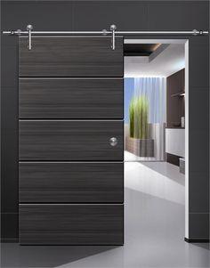 Black Sliding Wooden Doors Design