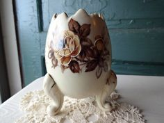 Vintage Ardco Cracked Egg Footed Vase Planter with Roses | SelectionsBySusan - Collectibles on ArtFire